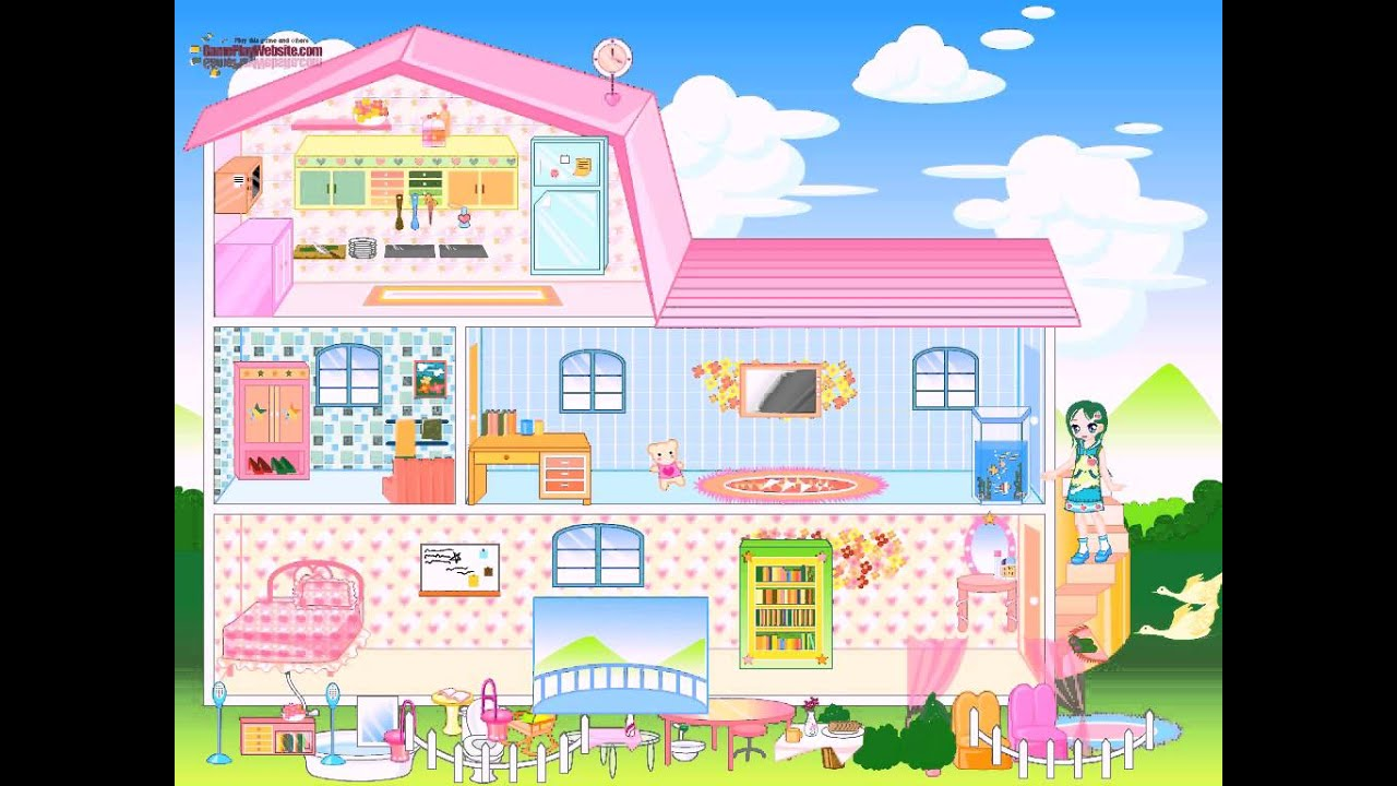 Barbie house dress up and home decoration game baby girl for Baby decoration games