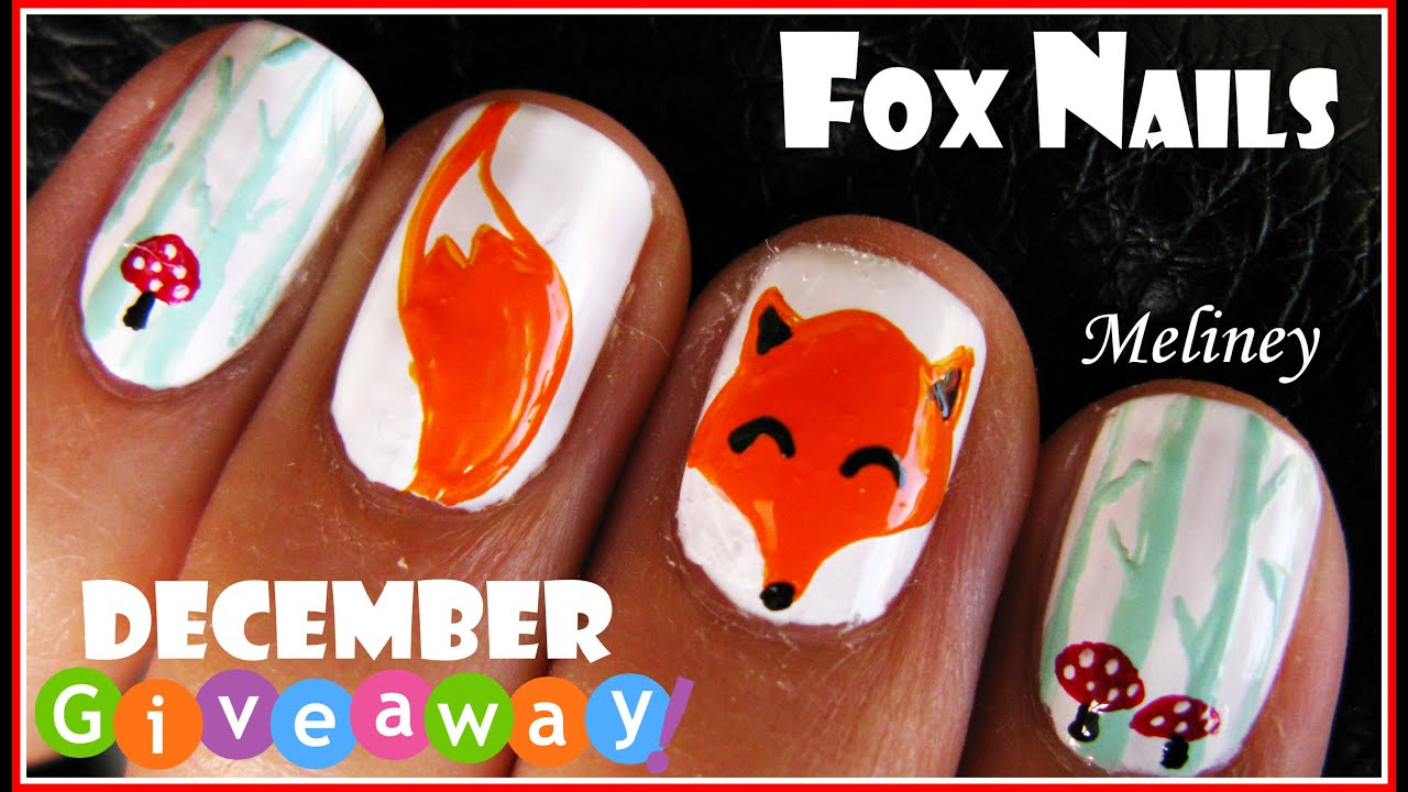 Winter Forest Fox Nails Animal Nail Art Design Tutorial For Short