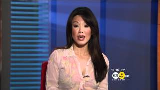 Sharon Tay 2012/04/25 KCAL9 HD; Thin white blouse