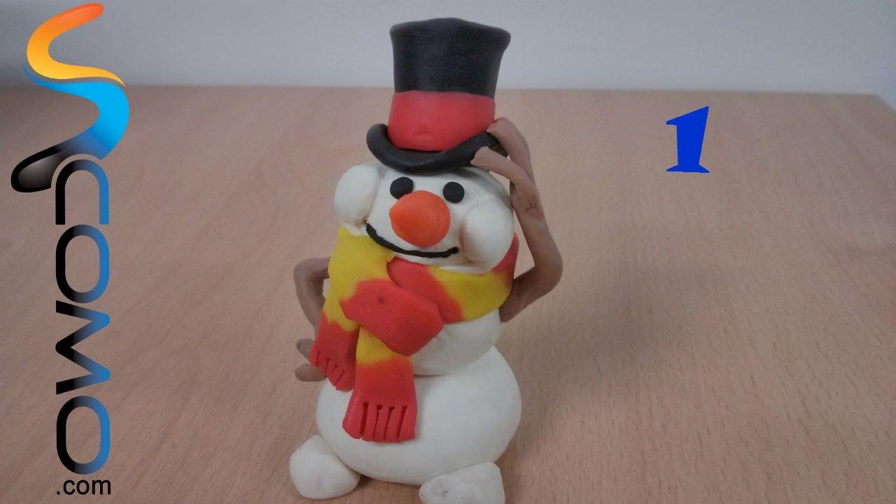 Hacer el cuerpo de plastilina de un mu eco de nieve 1 3 - Hacer cosas para navidad ...
