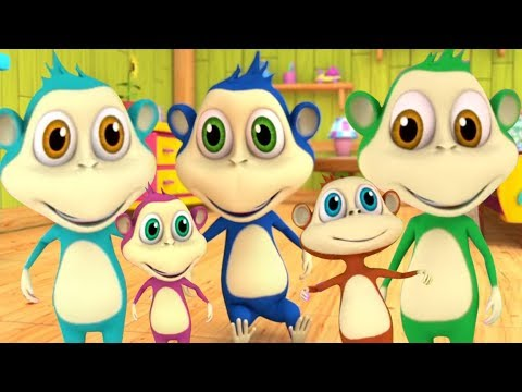 Cinco Macaquinhos Five Little Monkeys Cancao Dos Desenhos Animados Em Portugueses Youtube