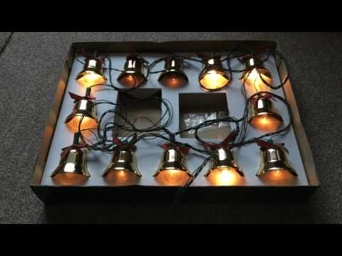 Vintage Brass musical Christmas bells with lights 21 Christmas carols, 240v