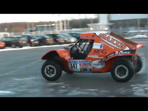 Stunt driving Electric Dakar Buggy 2014 Tim Coronel (Car presentation Netherlands elektrisch rijden)