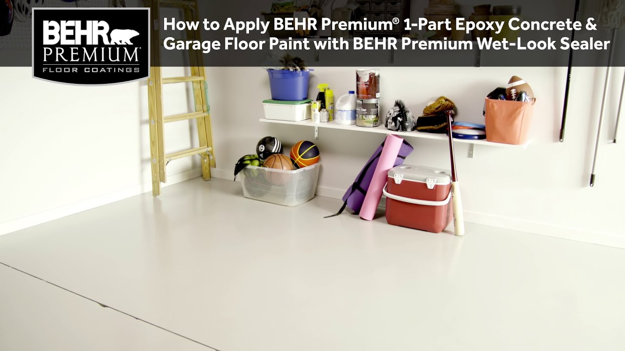 Garage Floor Tiles Or Paint How To Apply Behr Premium 1 Part Epoxy Concrete Garage Floor Paint W Behr Premium Wet Look Sealer