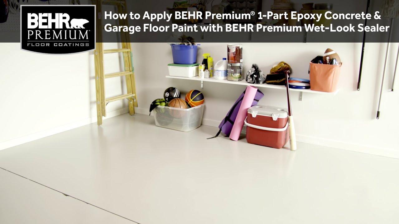 How To Ly Behr Premium 1 Part Epoxy Concrete Garage Floor Paint W Wet Look Sealer