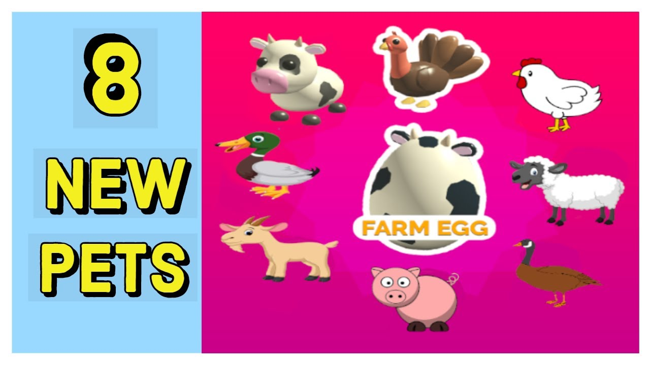 Adopt Me Farm Egg Update 8 New Pets Youtube