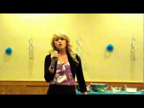 Jeannette Singing at the Cheerleading Tea Party Fundraiser