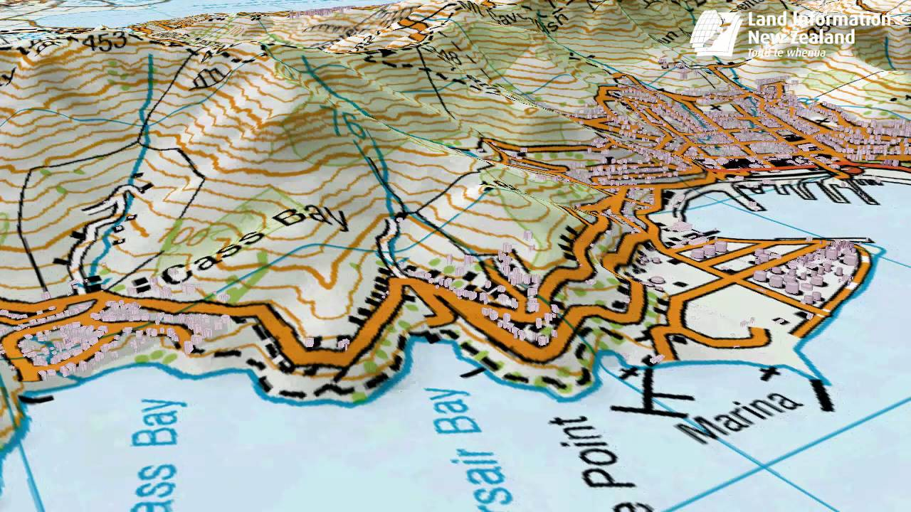LINZ Topo Maps made 3D Lyttelton Harbour YouTube