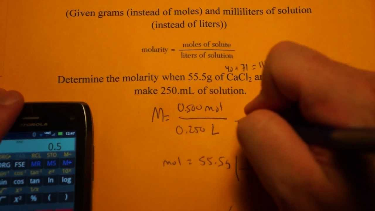 Calculating Molarity (given grams and mL)