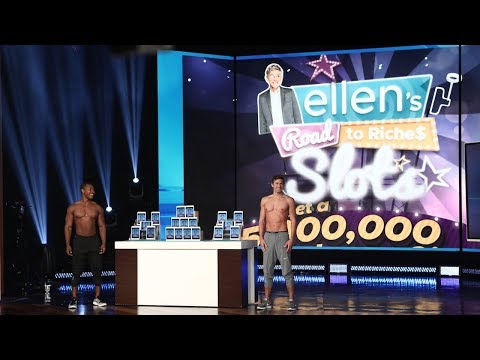 Ellen and Hot Hunks Show Off Her New 'Road to Riches' Slots Game!
