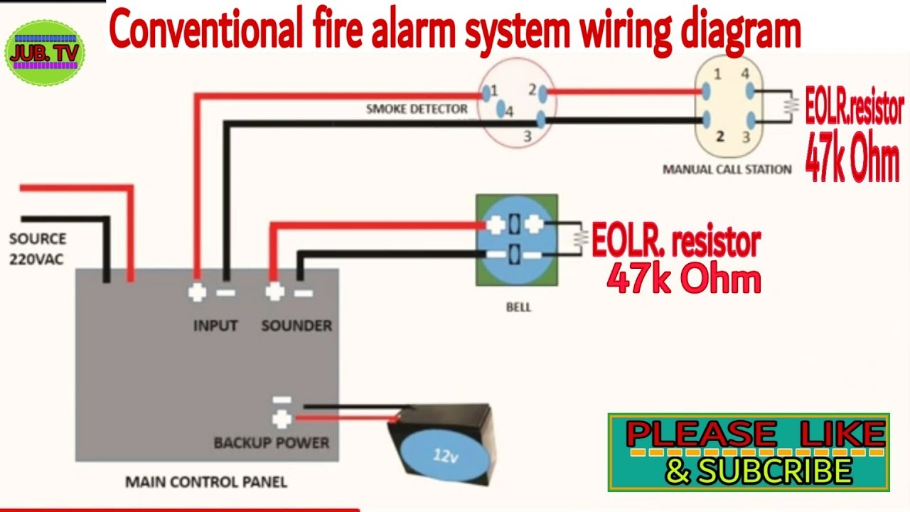 BASIC CONVENTIONAL FIRE ALARM WIRING DIAGRAM - YouTube | Addressable Fire Alarm System Wiring Diagram |  | YouTube