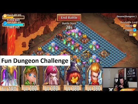 INSANE Dungeon Free 2 Play Challenge NOOB HEROES Castle Clash