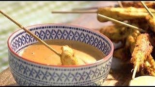 Satay-Spiesse mit Erdnuss-Sauce schnell gemacht
