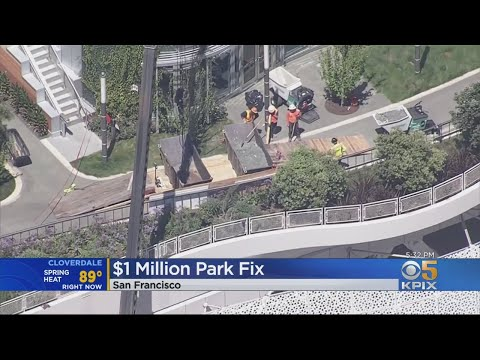 Salesforce Transit Center's Rooftop Park's Walkway Already Crumbling