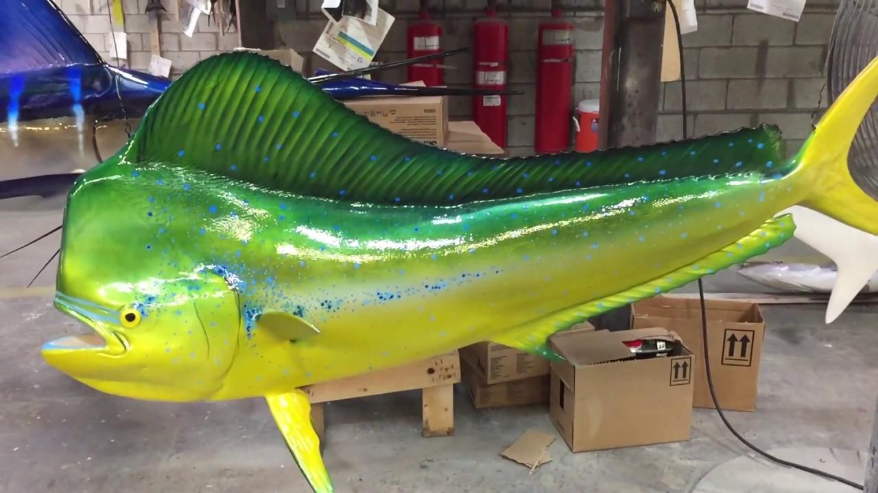 """Taxidermy Mahi Mahi Fiberglass Fish Mount 12/"""" Fish Replica"""