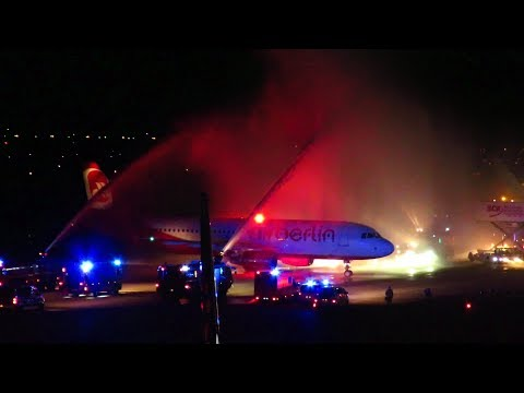 LAST EVER AIR BERLIN FLIGHT! FULL CEREMONY AT BERLIN TEGEL AIRPORT with DOUBLE WATER SALUTE!!