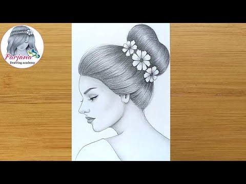 How to draw a girl with a Messy Bun Hair - step by step // Pencil Sketch thumbnail
