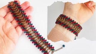 İki Renkli Abiye Bileklik Yapımı || Crystal Bracelet Making || Elegant Bracelet