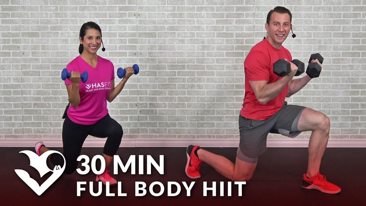 30 Minute Full Body Hiit At Home Workout With Weights Total Body 30 Min Dumbbell Hiit Workout Youtube