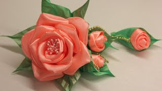 Объемный цветок из атласной ленты Мастер-класс/Surround the flower of satin ribbon. Master class
