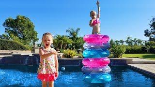 Backyard Swimming Pool Olympics!!! Stacking Pool Floats Challenge!
