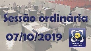 Sessão ordinária 07/10/2019