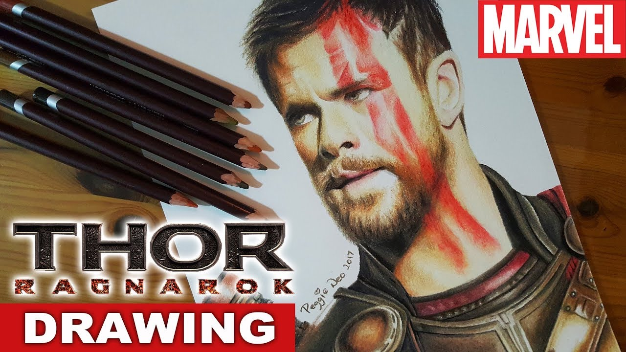 Chris hemsworth drawing thor ragnarok speed drawing how to draw portrait art