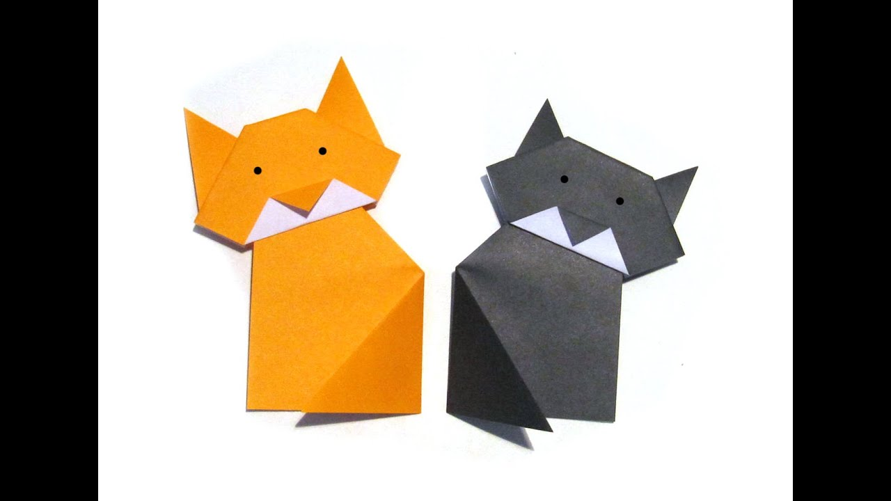 Halloween Easy Origami Cat - Easy Tutorial - How to make ... - photo#21