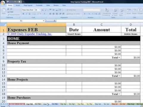 Daily Expense Tracking Excel Budgeting Workbook Demo - YouTube