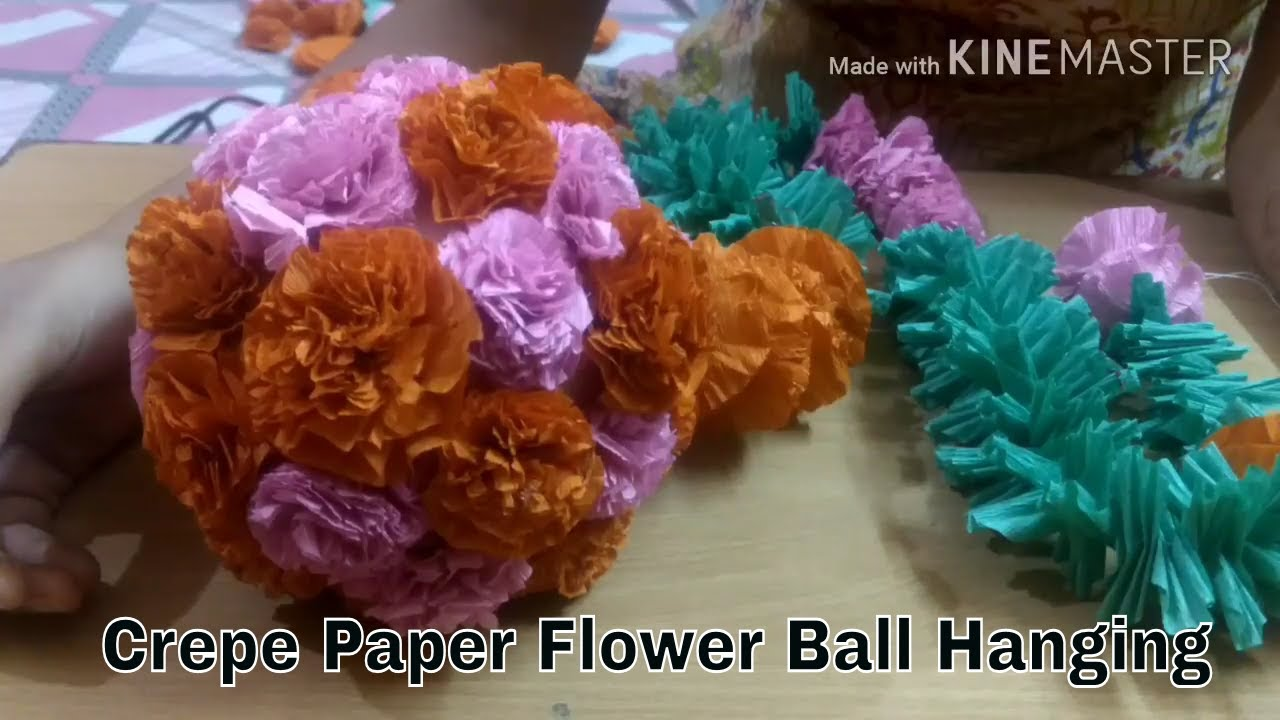 How to make crepe paper ball wall hanging for decoration diysara how to make crepe paper ball wall hanging for decoration diysara mightylinksfo