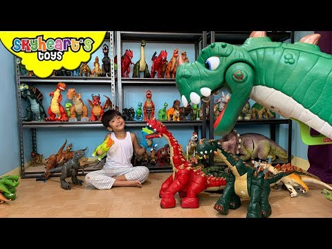 Skyheart's DINOSAUR ROOM!! Trex Breachiosaurus Jurassic World Dino Collection