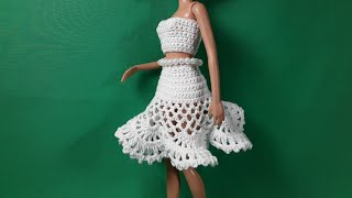 Урок вязания юбки Барби с узором