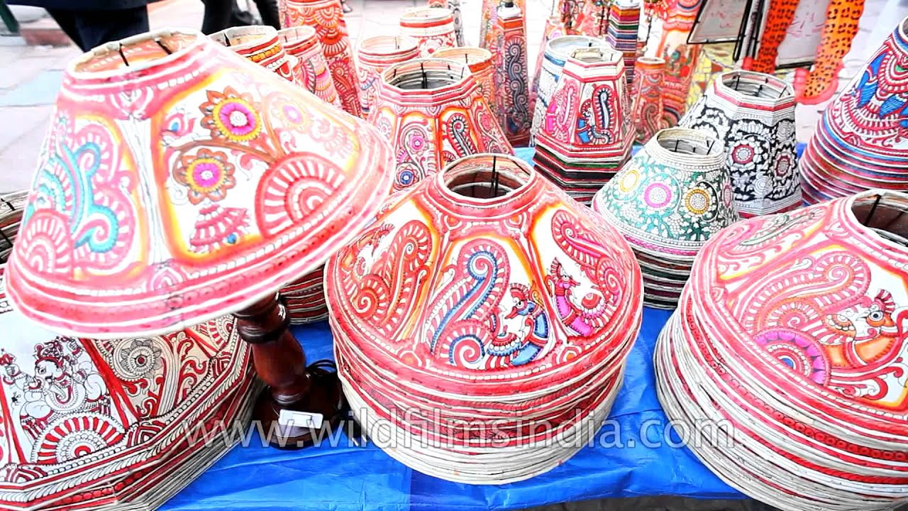 Hand painted paper lamp shades for sale in dilli haat youtube aloadofball Choice Image
