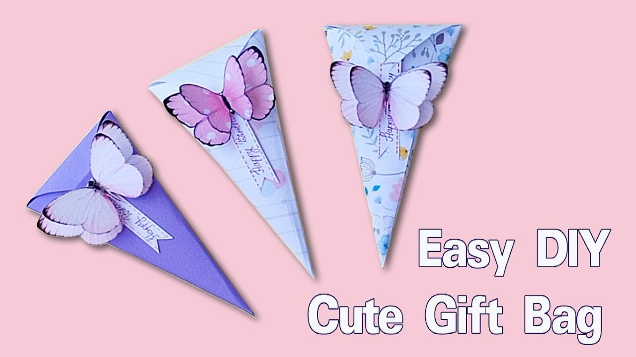 COOL AND SIMPLE GIFT PACKAGING IDEA / How to make Butterfly Gift Bag  / DIY Paper Bags