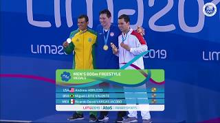 Andrew Abruzzo Wins Men's 800m Freestyle   Pan American Games Lima 2019