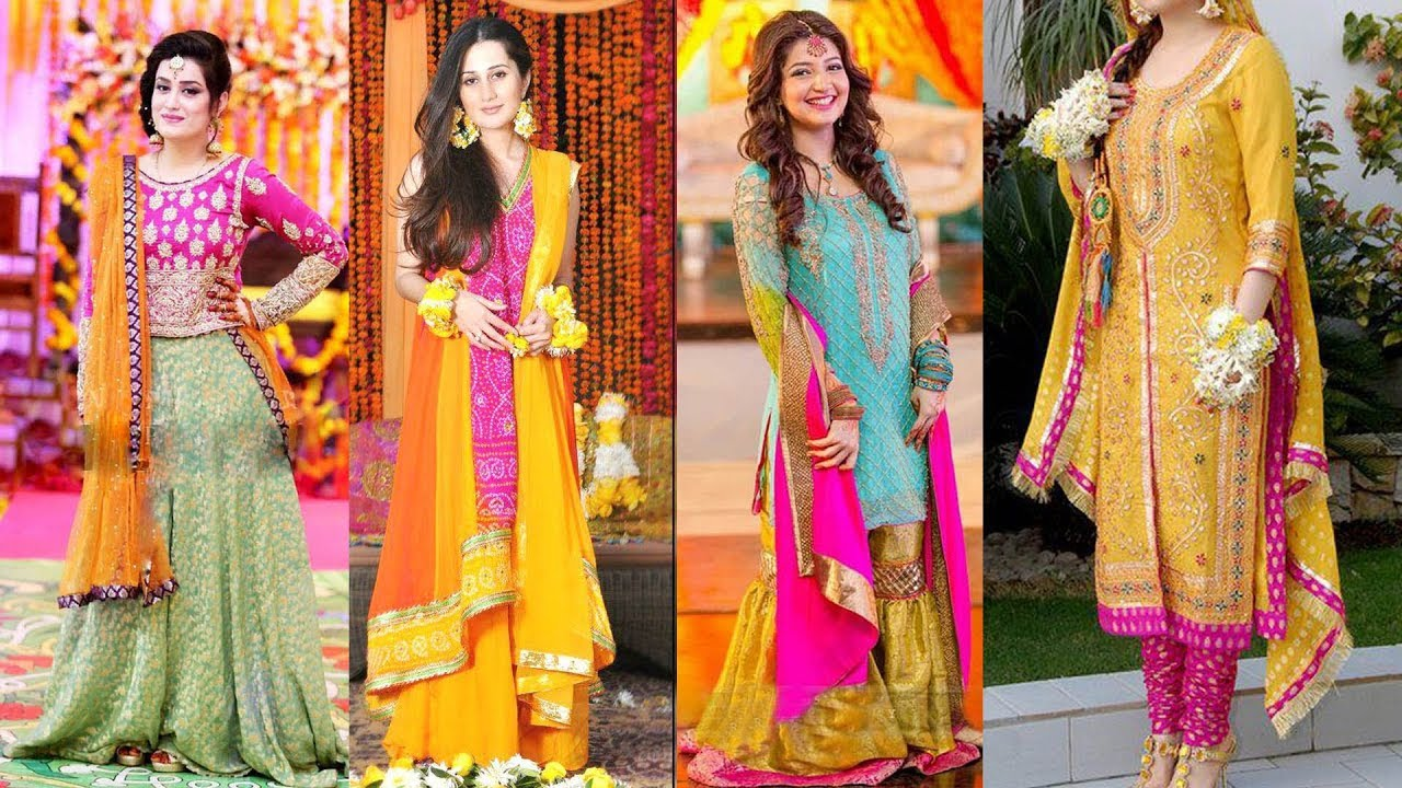 Mehndi Outfits 2018 : Latest bridal mehndi dresses designs collection  youtube