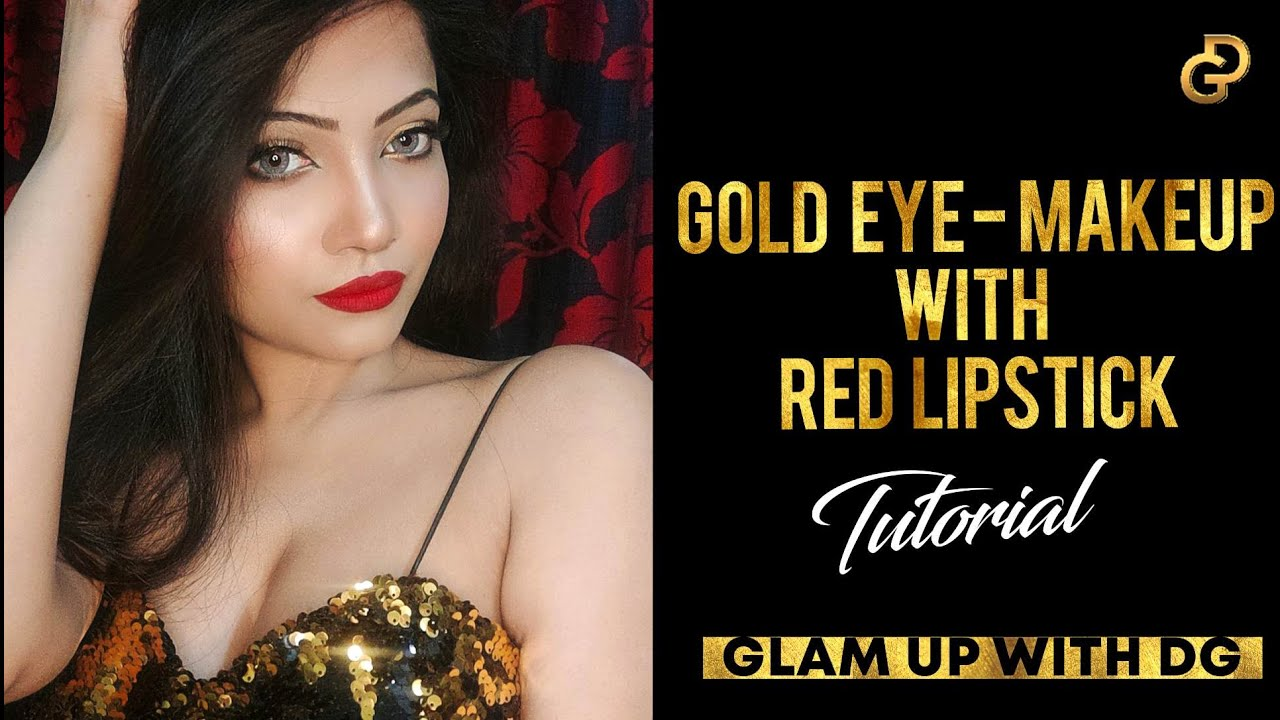 Special Occasion Glam Makeup Tutorial - Gold Eye Makeup With Red Lipstick | Diya Ghosh