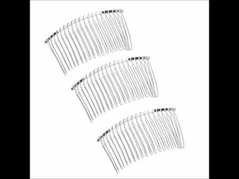 TinkSky 3pcs 7 8cm 20 Teeth Fancy DIY Metal Wire Hair Clip Combs Bridal Wedding Veil Combs Silver