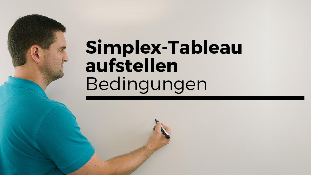 Simplextableau aufstellen, Simplex-Algorithmus/-Verfahren ...