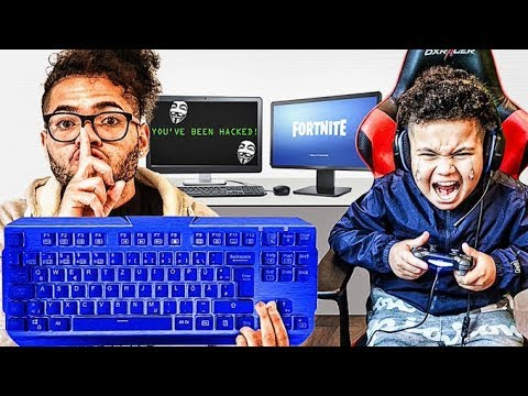 WIRELESS KEYBOARD PRANK HACK ON LITTLE BROTHER PLAYING FORTNITE!! BIGGEST RAGE ON YOUTUBE!!