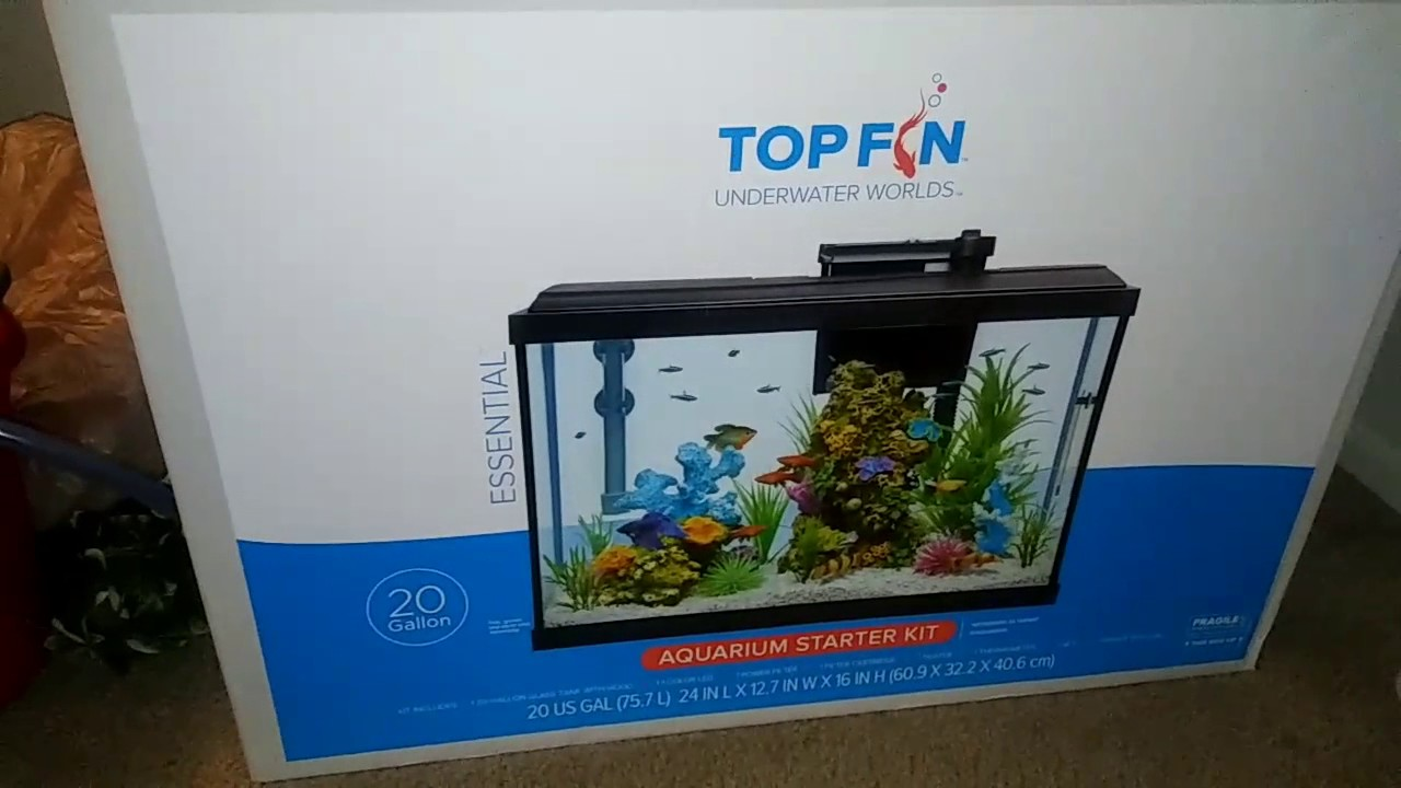 Topfin top fin essential 20 gal aquarium starter kit vid1 for 20 gallon fish tank kit