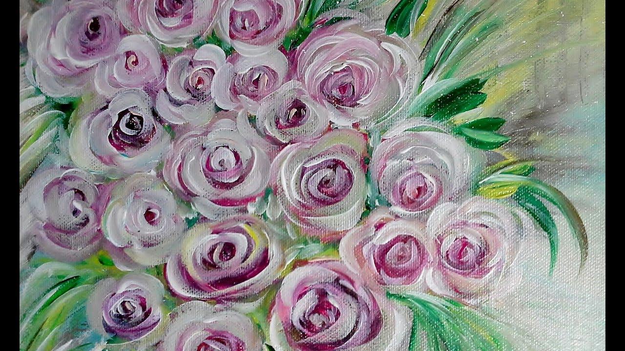 Einfach Malen Acrylmalerei Rosen Easy Painting Acrylic Painting