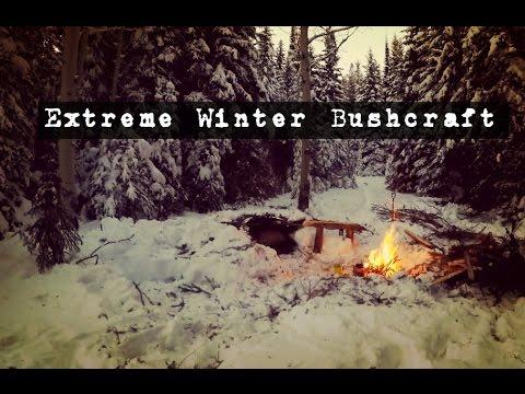 Extreme Cold Weather Bushcraft Shelter!