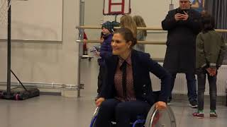 Crown Princess Victoria plays Paralympic basketball in Östersund