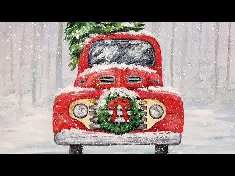 Old Truck With Christmas Tree Painting.Red Christmas Truck With Wreath Acrylic Painting Live Tutorial