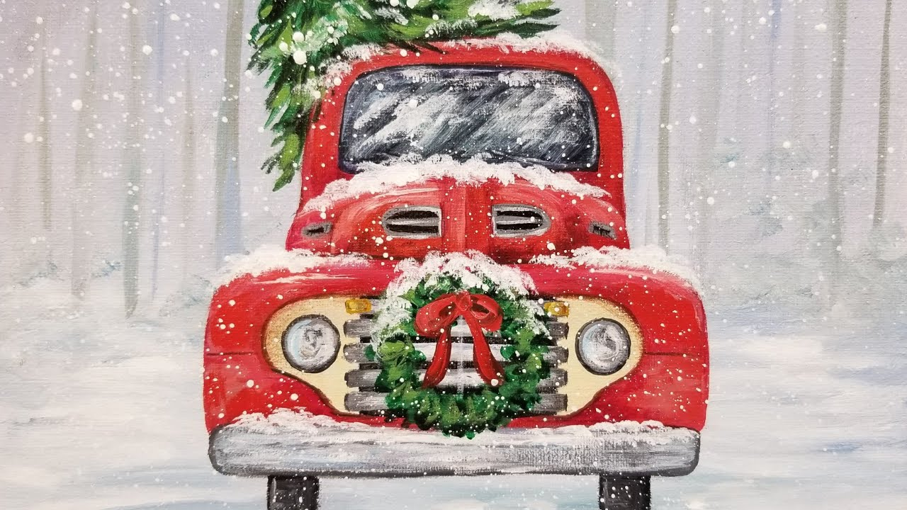 Old Truck With Christmas Tree Painting.Red Christmas Truck With Wreath Acrylic Painting Live