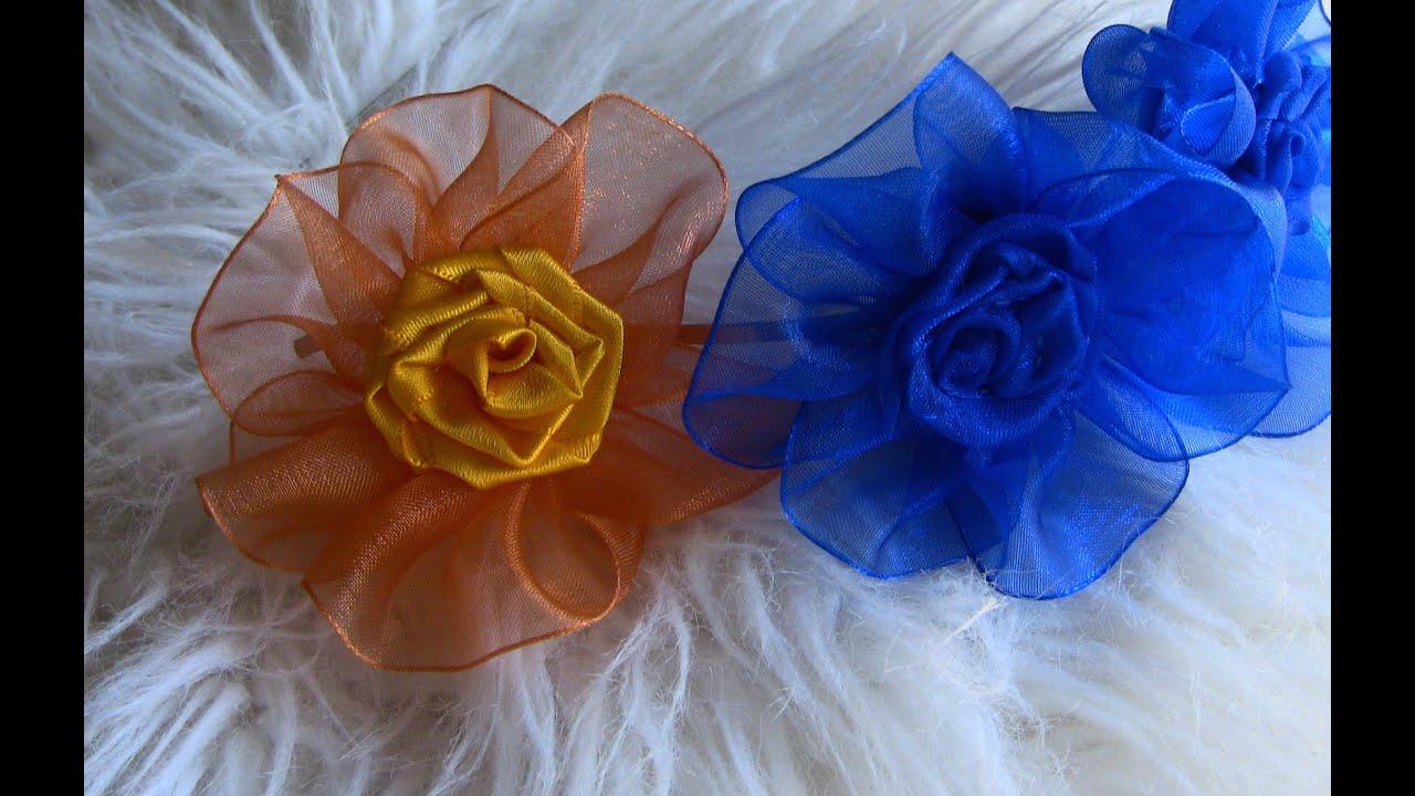 dc2758ea070cae Flor de Fita de ORGANZA e cetim- Ribbon Rose,Tutorial