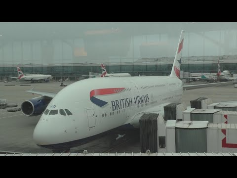 Heathrow airport Terminal 5 with ATC pilot communications british airways A380