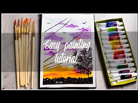 Easy painting tutorial 🌸// Scenery painting// Imaginary bullet