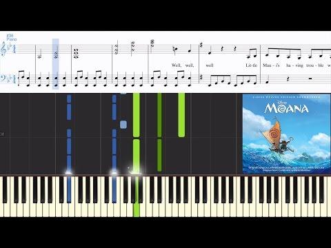 [Moana] Jemaine Clement - Shiny (Synthesia Piano Tutorial W/Lyrics)